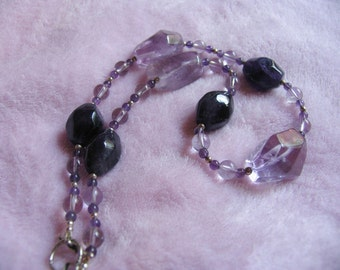 Gorgeous AMETHYST beaded Necklace - semiprecious gemstone lavender lilac chakra healing