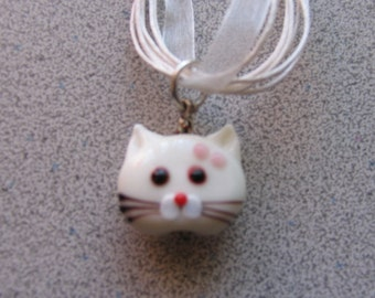 Lampworked Glass WHITE CAT Pendant necklace - Kitty Kitten