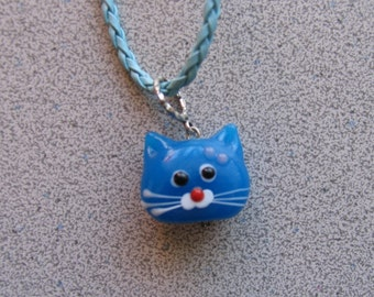 Lampworked Glass BLUE CAT Pendant necklace - Kitty Kitten