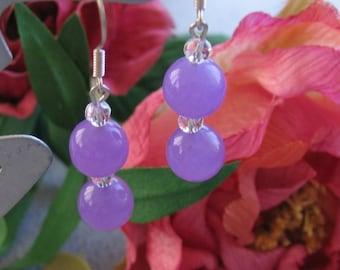 Purple Jade and Crystal earrings - Sterling Silver hooks - semiprecious gemstone natural healing jewelry