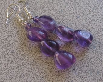 AMETHYST Earrings - Sterling Silver hooks - semiprecious gemstone natural healing jewelry purple lavender