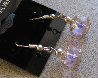 Petite Pink Crystal dangling Earrings with Sterling Silver accents & ear hooks for pierced ears - victorian shabby chic