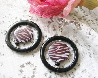 ZEBRA print EARRINGS - black Onyx and Shell earrings with Sterling Silver hooks for pierced ears