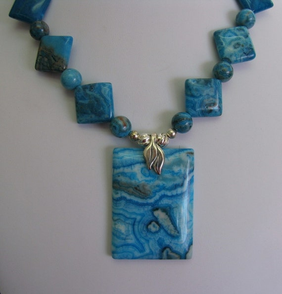 Blue Crazy Lace Agate and Sterling Silver Necklace  simply GORGEOUS - spring ocean waves color