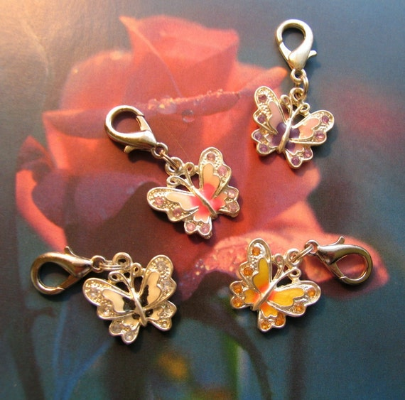 4 BUTTERFLY metal charms - zipper pulls charm bracelets backpack accessories pet collar jewelry - great gifts