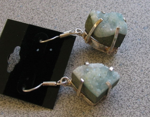 Mint Green Druzy Agate dangling Earrings with Sterling Silver - semiprecious gemstones - crystallized stone seafoam drusy