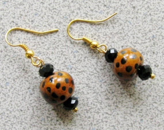 LEOPARD print EARRINGS - black Onyx and clay earrings with gold plated hooks for pierced ears cheetah animal
