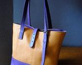 "orange and purple leather shopping bag ""ROMY"""