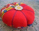 Pincushion Vintage Fabric and Vintage Button Accents-Free Shipping
