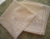 Vintage Napkins Cotton with Blue Embroidery and Cutwork 6 Pieces