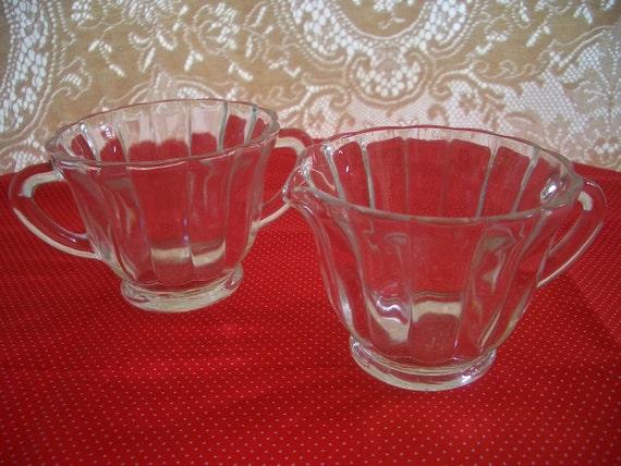 Vintage Depression Glass Cream and Sugar Set