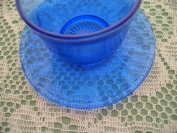 Vintage Depression Glass Condiment Cup in Cobalt Blue