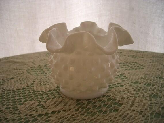 Vintage Milk Glass Vase Hobnail with Ruffled Edge