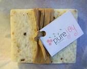 Spearmint Basil Olive Oil Soap Sea Salt Scrub Bar - Organic Ingredients