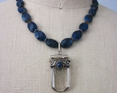 Quartz and Sodalite Pendant with Blue Apatite, Amber and Sterling Silver Necklace