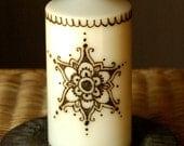 Hand-Painted Henna Candle - Mandala with Scalloped Edges