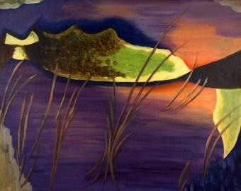 TREASURE No. 3 - Original Painting 16x20 Purple Surreal Abstract Fine Art