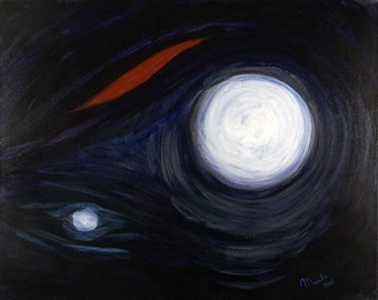 HURT - Original Painting 16x20 Dark Blue Abstract Fine Art