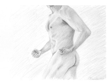 "Nude Study 006 ""WILL"" - Male Nude Original Pencil Drawing 5""x7"" Fine Art Black and White"