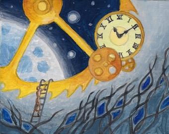 "TIME - 4""x5"" Original Surreal Painting Blue Space Fine Art"