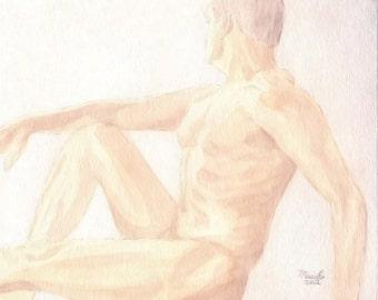 "Nude Study 008 - 8""x10"" Watercolor Male Nude Original Painting Fine Art"