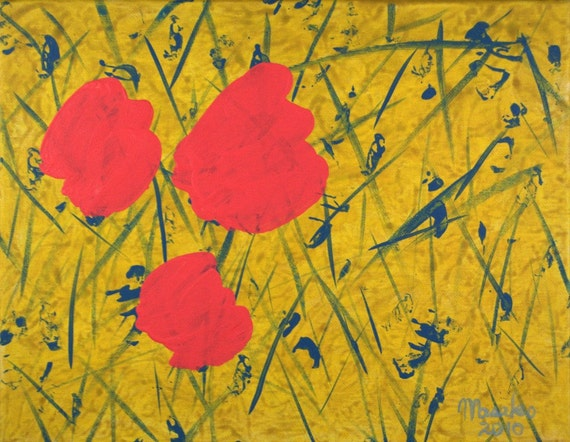 """SPRING FIELD - 11""""x14"""" Original Painting Yellow Pink Surreal Abstract Fine Art"""