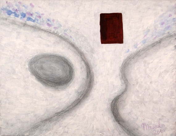 WHITE CASTLE - Original Painting 11x14 Surreal Abstract Fine Art