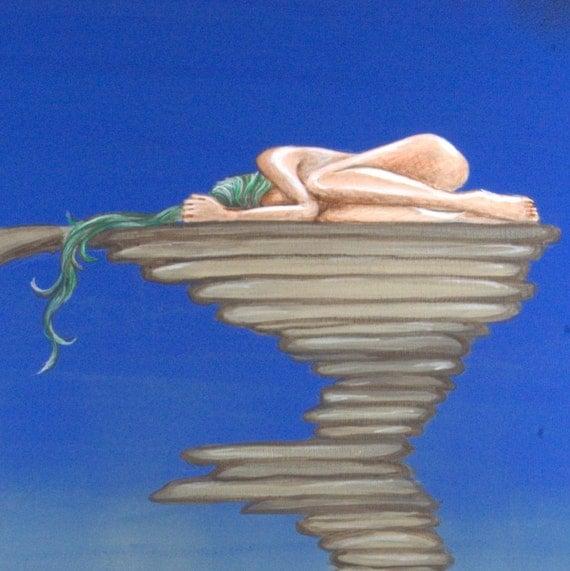 "SOLITUDE - 16""x20"" Original Surreal Painting by Masako"
