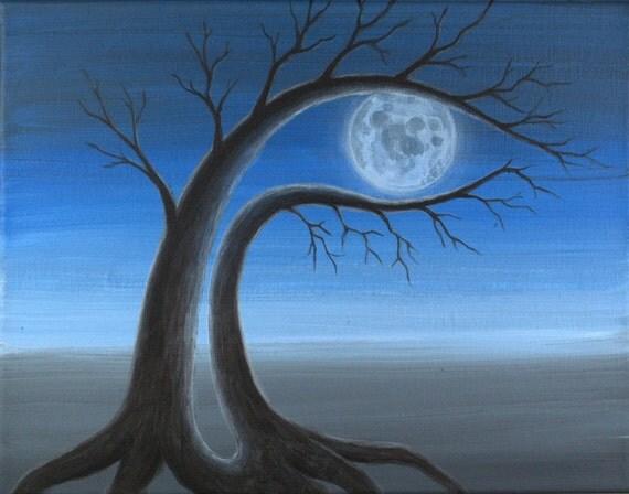"FULL MOON 2 - 11""x14"" Original Contemporary Surreal Painting by Masako"