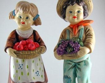 Set of 1972 Folk Art Hand Painted Harvest figurines from Sleepy Hollow Ceramic