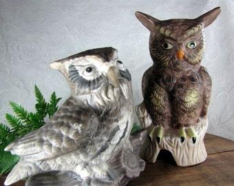 Pair of Owls Vintage 1970s Ceramic Figurines