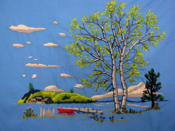 1972 Crewel Embroidered Mountain Lake Finished Unframed
