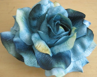 Large Teal Blue Rose Poly Silk Flower Brooch Pin