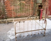 Reserved FREE NYC DELIVERY Antique Original Chippy Painted Iron Full Double Bed Cottage Chic