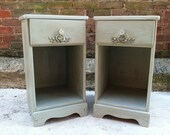 FREE NYC DELIVERY Pair of Cottage French Blue Painted Nightstands End Tables -French Cottage Shabby Chic