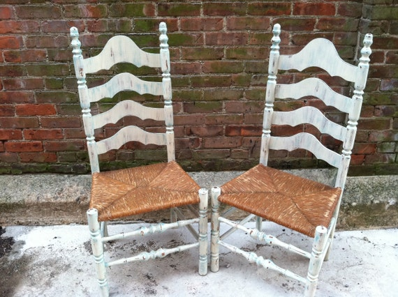 Painted Ladderback Chairs - Farmhouse Beach Cottage Chic