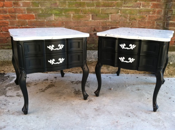 Hollywood Regency End Tables Painted Black Marble Top Free