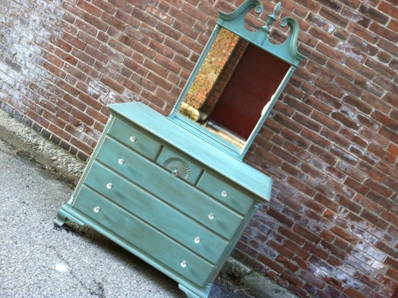 Painted Robin Egg Dresser with Mirror - Shabby Cottage Chic French Provincial Paris Apartment