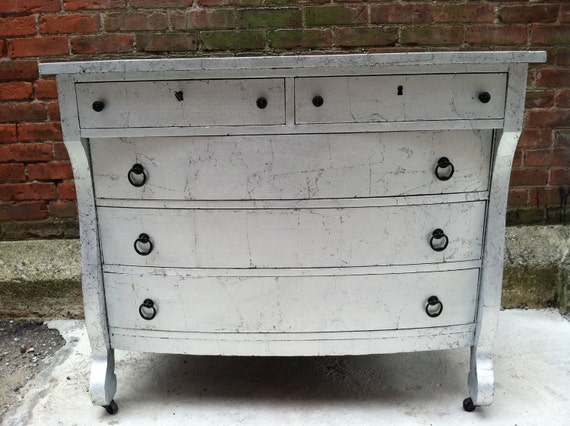 FREE NYC DELIVERY Silver Leaf Empire Dresser Chest of Drawers Hollywood Regency Baroque