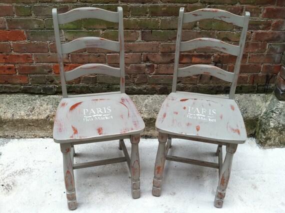 FREE NYC DELIVERY Pair of Painted Paris Flea Market  Chairs - Paris Apartment Farmhouse Beach Cottage Chic