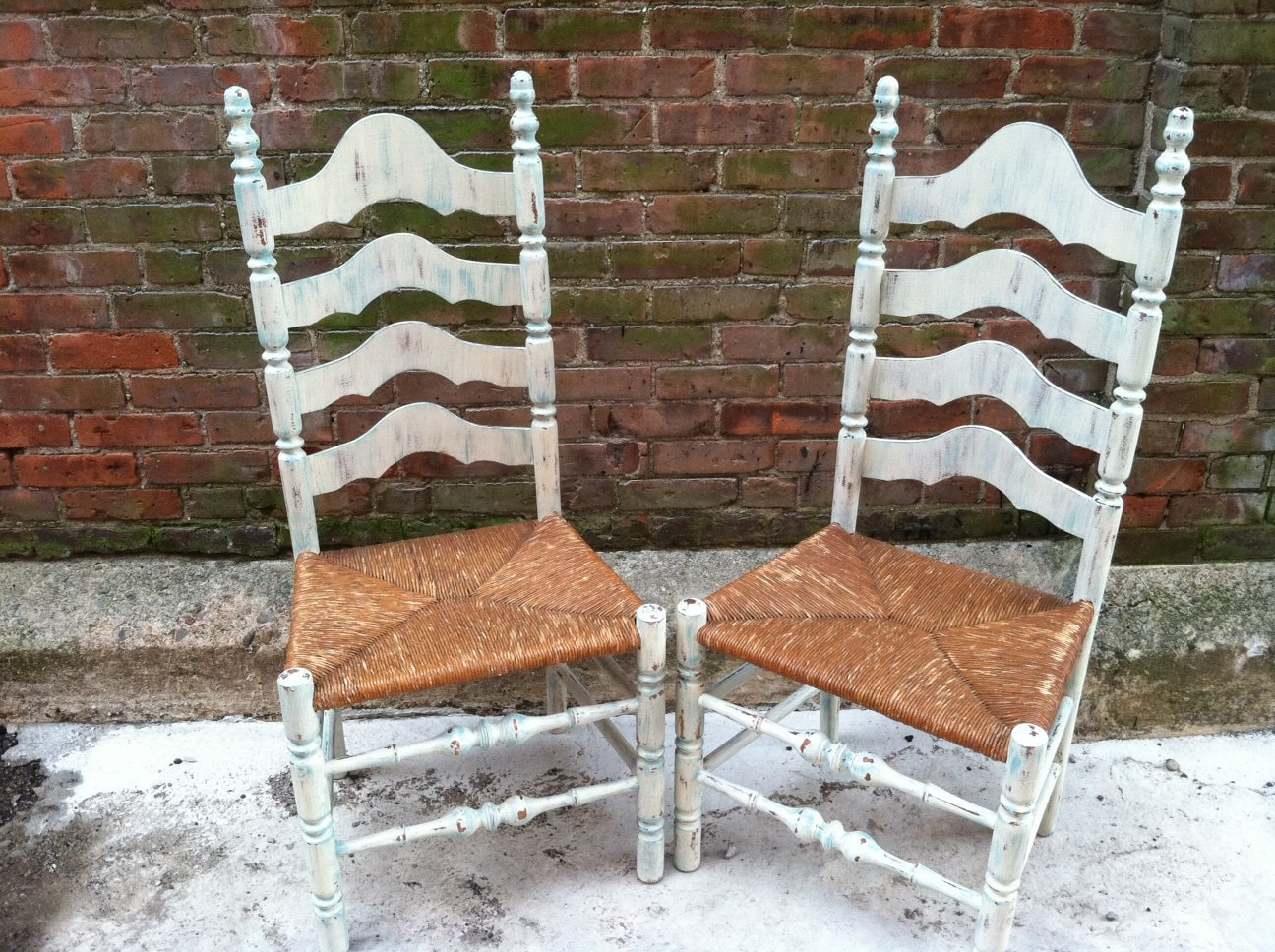 Painted Ladderback Chairs Farmhouse Beach Cottage Chic