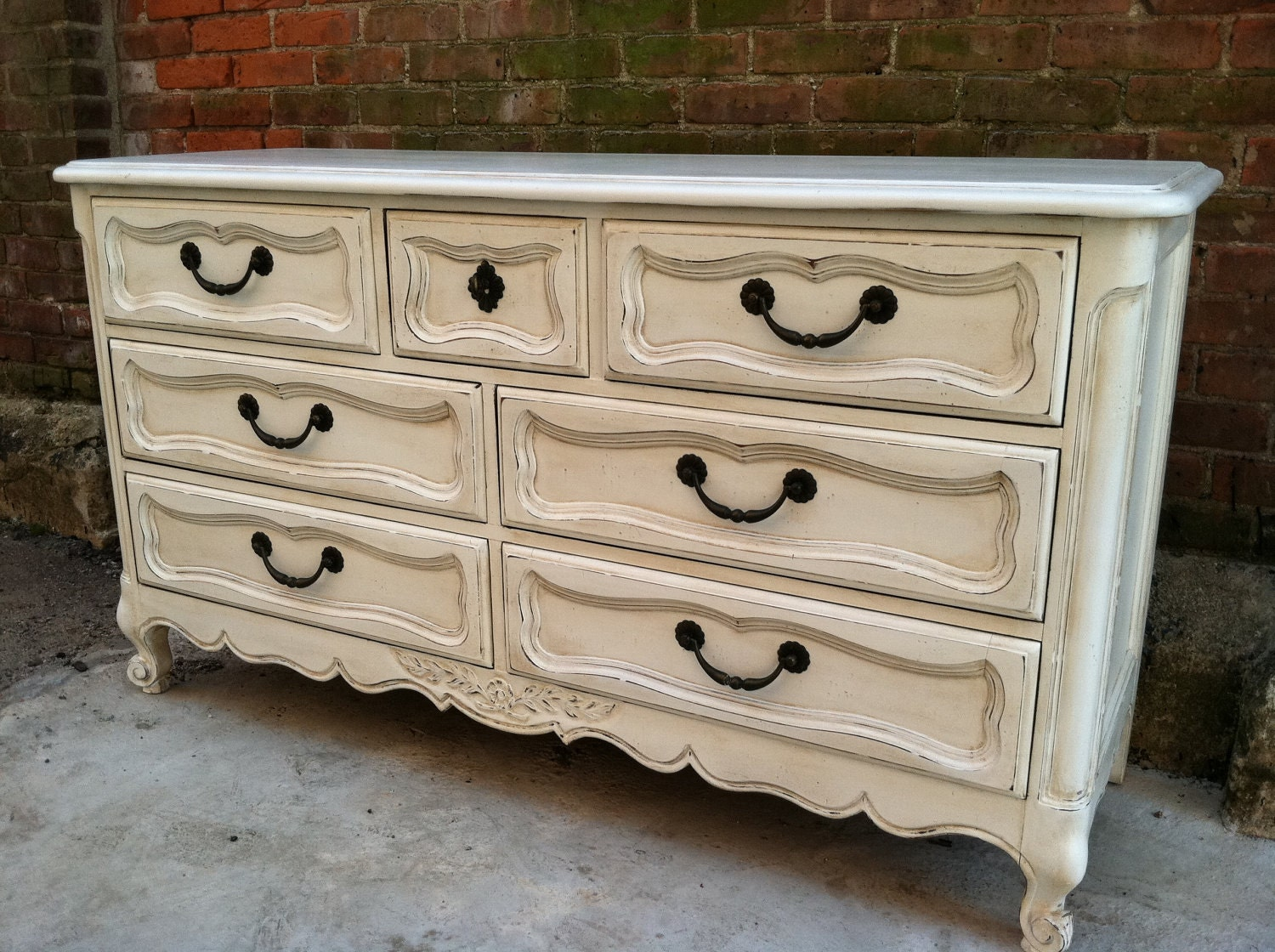 Painted white french provincial dresser farmhouse cottage chic - Painted french provincial bedroom furniture ...