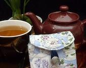 Tea Bag Travel Wallet - Tea Garden Traditional Teapots on Blue, Hostess Gift, Free Shipping - USA, Ships Worldwide