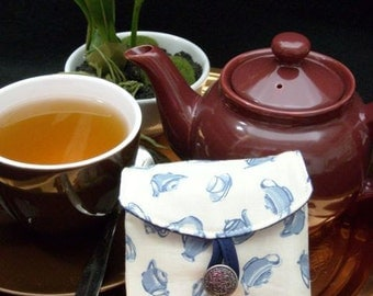 Tea Bag Travel Wallet - Blue Teapots on Ivory, Free Shipping - USA, Ships Worldwide, Tea Lover Gift