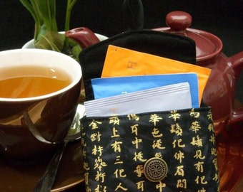 Tea Bag Travel Wallet - Kanji on Black, BFF Gift, Free Shipping - USA, Ships Worldwide
