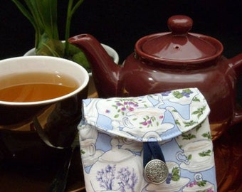 Tea Bag Travel Wallet - Tea Garden Traditional Teapots on Blue, Hostess Gift, Free Shipping - USA, Ships Worldwide