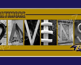 Baltimore Ravens Football Alphabet Photo Collage