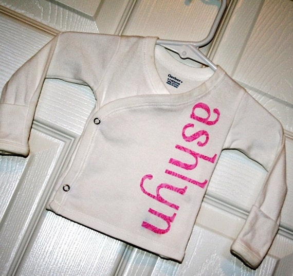 Hospital to Home- Personalized Shirt- Long Sleeve Side Snap Gerber Shirt- Choose Applique Color