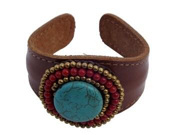 Turquoise & carnelian leather cuff