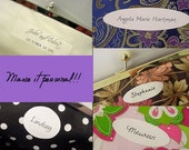 Wedding Clutch Purse Personalized Label Inside Clutch - Names, Dates, and Messages - Bridesmaid Gift Keepsake